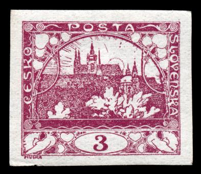 Free Stock Photo of Violet Hradcany Castle Stamp