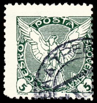 Free Stock Photo of Green Falcon Stamp