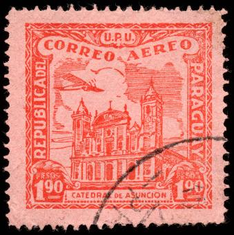 Free Stock Photo of Red Asuncion Cathedral Airmail Stamp