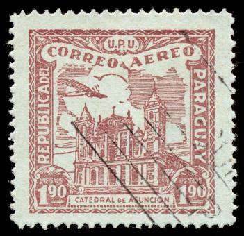 Free Stock Photo of Brown Asuncion Cathedral Airmail Stamp