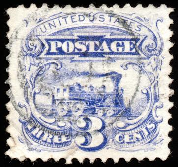 Free Stock Photo of Blue Locomotive Stamp