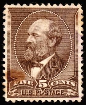 Free Stock Photo of Brown James Garfield Stamp