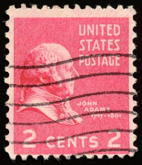 Free Stock Photo of Pink John Adams Stamp