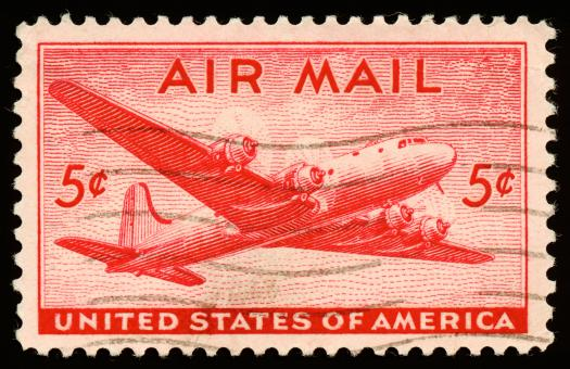 Free Stock Photo of Red DC4 Skymaster Stamp