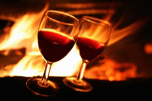 Free Stock Photo of Wine against fire