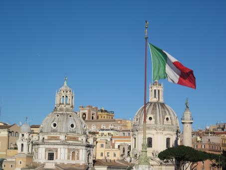 Free Stock Photo of A view in Rome and an Italian flag