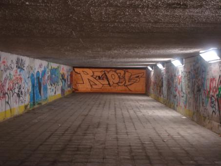 Free Stock Photo of Underpass at night