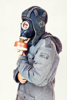 Free Stock Photo of Man with gas mask