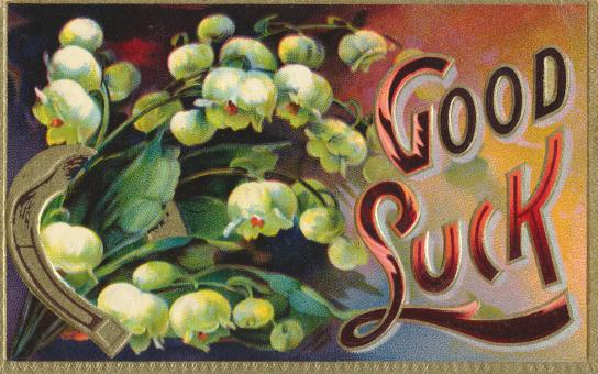 Free Stock Photo of Vintage Good Luck Card