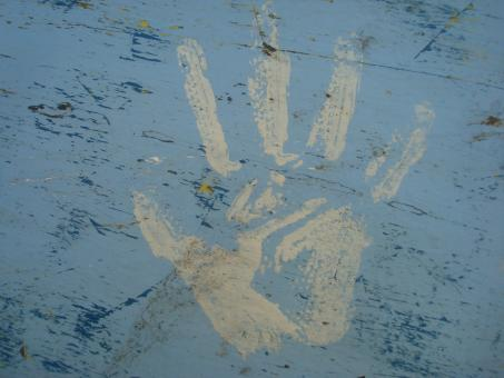 Free Stock Photo of Paint hand print