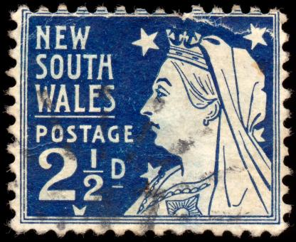 Free Stock Photo of Blue Queen Victoria Stamp