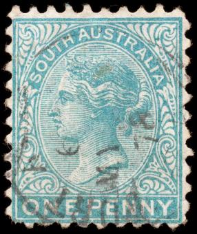Free Stock Photo of Cyan Queen Victoria Stamp