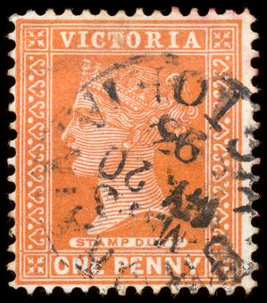 Free Stock Photo of Orange Queen Victoria Stamp
