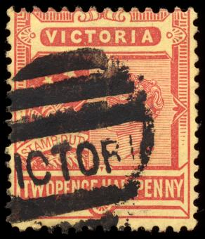 Free Stock Photo of Red-Yellow Queen Victoria Stamp