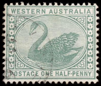 Free Stock Photo of Green Swan Stamp