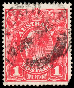 Free Stock Photo of Red King George V Stamp