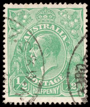 Free Stock Photo of Green King George V Stamp