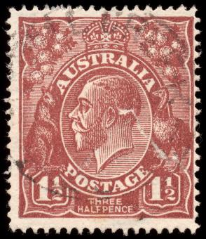 Free Stock Photo of Brown King George V Stamp