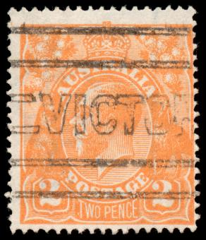Free Stock Photo of Orange King George V Stamp