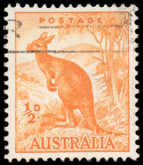 Free Stock Photo of Orange Kangaroo Stamp