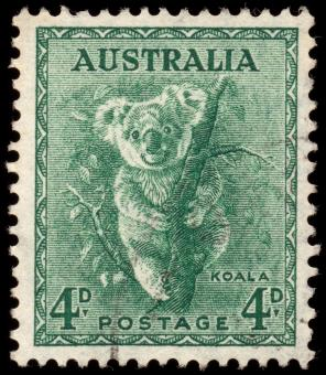 Free Stock Photo of Green Koala Stamp