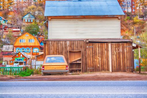 Free Stock Photo of House with Old Car