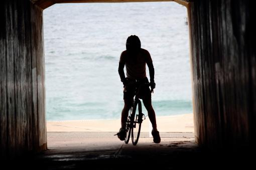 Free Stock Photo of Cyclist in tunnel