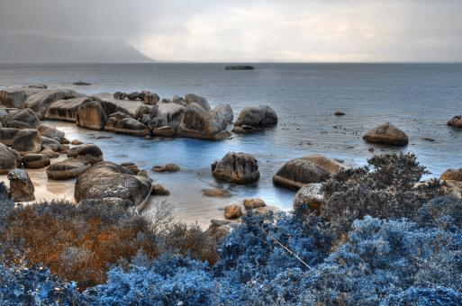 Free Stock Photo of Blue Boulders Beach - HDR