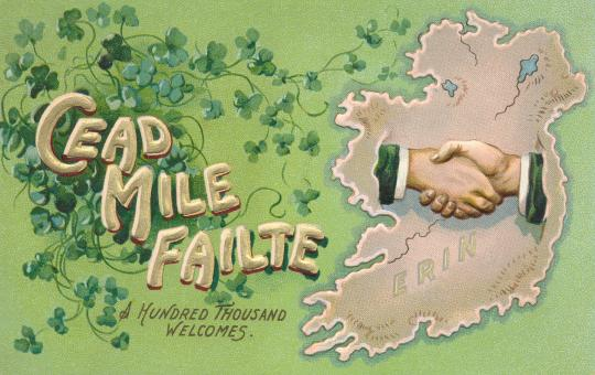 Free Stock Photo of Antique Ireland Welcome Postcard