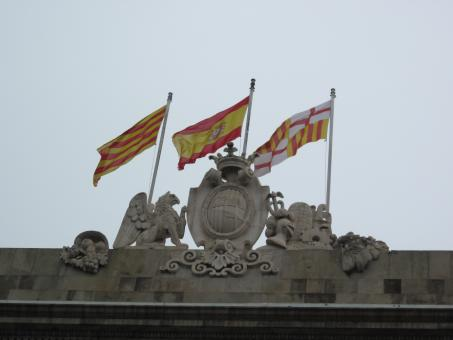 Free Stock Photo of Spanish and Catalan flags