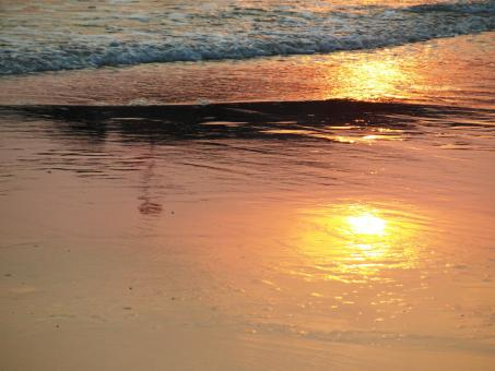 Free Stock Photo of Sunset Reflection in the Sand
