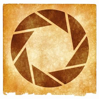 Free Stock Photo of Lens Aperture Grunge Symbol - Sepia