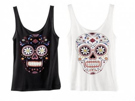 Free Stock Photo of New Flower Skull Pattern Sleeveless