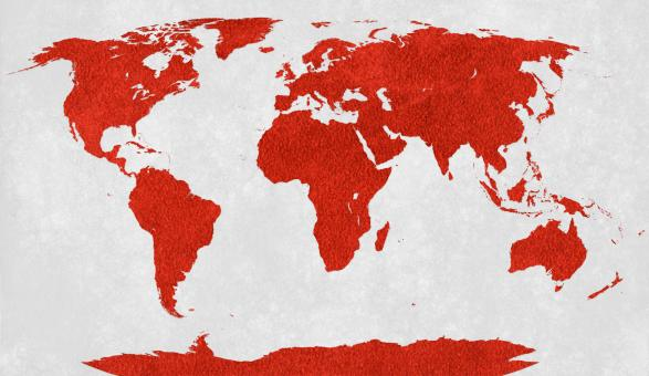 Free Stock Photo of World Map - Red Velvet