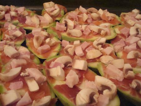 Free Stock Photo of Zucchini, prosciutto, ham and mushrooms