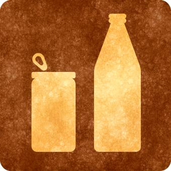 Free Stock Photo of Sepia Grunge Sign - Can and Bottle