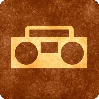 Free Stock Photo of Sepia Grunge Sign - Radio Player