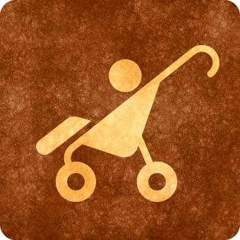 Free Stock Photo of Sepia Grunge Sign - Baby Stroller
