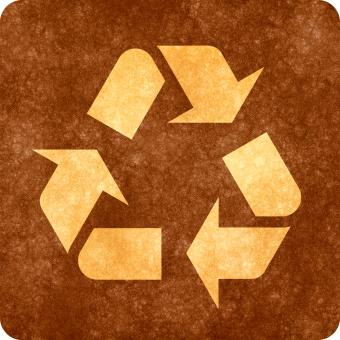 Free Stock Photo of Sepia Grunge Sign - Recycling Symbol