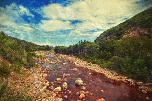 Free Stock Photo of Cabot Trail Scenery - Retro Style