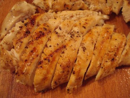Free Stock Photo of Sliced grilled chicken fillet