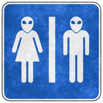 Free Stock Photo of Grunge Sign - Alien Toilet
