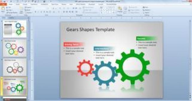 Free Stock Photo of Gears PowerPoint Shapes Template