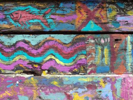 Free Stock Photo of Graffiti Art on Wooden Surface