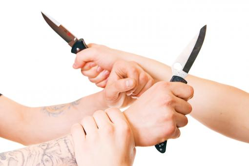 Free Stock Photo of Hands with knives