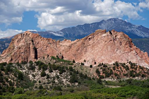 Free Stock Photo of Pikes Peak behind Kindergarten Rock