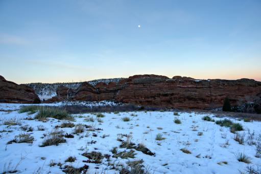 Free Stock Photo of Red Rocks Twilight Moon