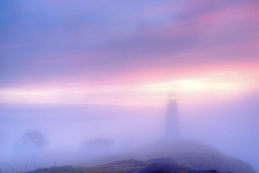 Free Stock Photo of Lighthouse in fog