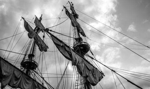 Free Stock Photo of Sailing ship's masts with sails