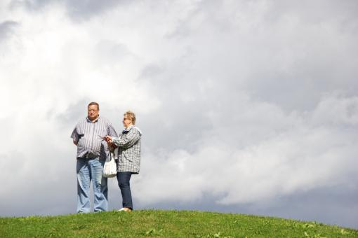 Free Stock Photo of Couple and moody sky